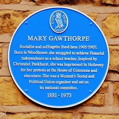 A plaque to Mary Gawthorpe in Warrel's Mount