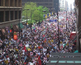 A rally on May Day 2006 in Chicago. The protests began in response to proposed legislation known as H.R. 4437, which would raise penalties for illegal immigration and classify undocumented immigrants and anyone who helped them enter or remain in the US as felons.
