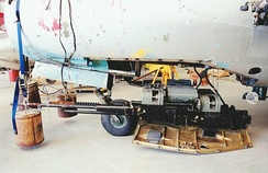Twin 23 mm Nudelman-Rikhter NR-23 cannon winched down from the nose of a Polish-built Lim-6 (MiG-17F; a third 37 mm Nudelman N-37 cannon was also fitted.