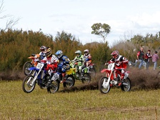 Start of a motocross race; a racer with 3-digit number is leading.