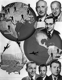 NBC News had close to 700 correspondents and cameramen in 1961 who were stationed throughout the world. Film was received in the United States by plane or by the jointly operated NBC-BBC transatlantic film cable.