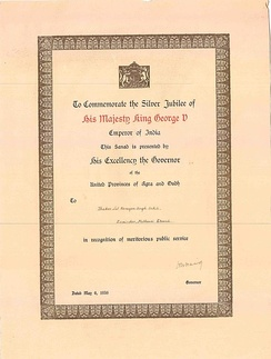 A sanad issued by the governor of the United Provinces of Agra and Oudh during the British Raj
