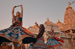 Navaratri festival is an occasion of classical and folk dance performances at Hindu temples. In picture the Ambaji Temple of Gujarat.