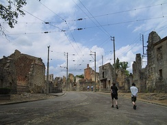 Main street of Oradour-sur-Glane, France, unchanged since the German massacre.