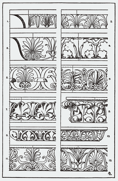Elaborated versions of Greco-Roman classical architectural ornaments in Meyer's Ornament