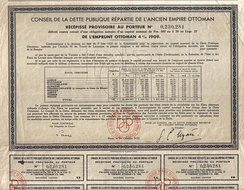 Ottoman Loan certificate, 1933; printed in French