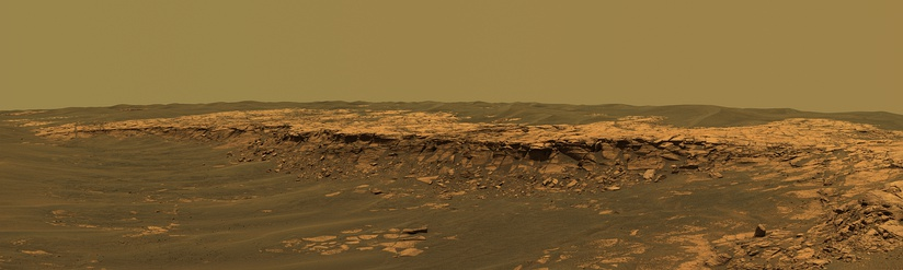 Panorama of rocks near the Opportunity Rover – Payson outcrop – Erebus crater (February 26, 2006).
