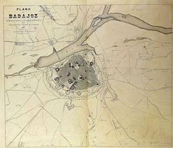A city planning map of Badajoz in 1873 (Spanish edition)