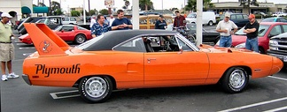 The Plymouth Superbird is famous for its high factory rear wing