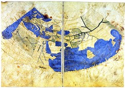 The world map from Codex Vaticanus Urbinas Graecus 82, done according to Ptolemy's 1st projection