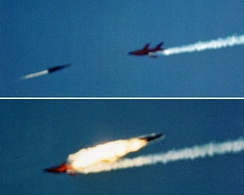 A RIM-67 surface to air missile intercepts a Firebee drone at White Sands, 1980.