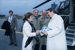 Molinari greeting President Ronald Reagan in 1985
