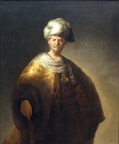 "Man In Oriental Costume (""The Noble Slav""), oil on canvas, by Rembrandt, 1632. A significant example of European emulation of Ottoman dress for the purpose of portraying a dignified, elite appearance."
