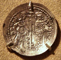 Coin of Roger II of Sicily, silver Ducale, Brindisi mint.