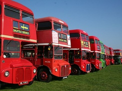 AEC Routemaster buses at Labworth car park for the classic vehicle event.