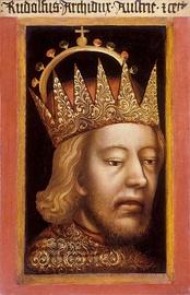Рудольф IV в короне эрцгерцога. Первый в Западной Европе портрет в полуанфас.