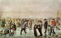Skating fun by 17th century Dutch painter Hendrick Avercamp