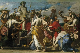 Sacrifice to Bacchus. Oil on canvas by Massimo Stanzione, c. 1634