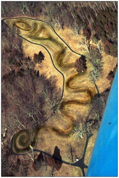 Great Serpent Mound, a 411-meter long (1,348 ft) effigy mound in Adams County, Ohio, ca. 1070 CE