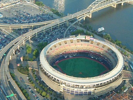 Aerial view of Three Rivers Stadium.