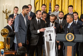 The 2014 NBA champions received by President Barack Obama at the White House.
