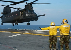 MH-47 Chinook takes off from Wasp
