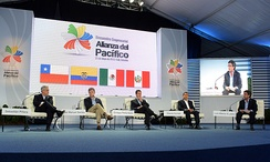 The VII Summit of the Pacific Alliance: President of Colombia, Juan Manuel Santos is second from the left.