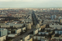 Karl-Marx-Allee, the broad boulevard that bisects Friedrichshain, seen from TV tower