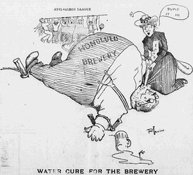 "This 1902 illustration from the Hawaiian Gazette shows the Anti-Saloon League and the Woman's Christian Temperance Union's campaign against beer brewers. The ""water cure"" was a form of torture which was in the news because of its use in the Philippines."