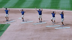"The grounds crew at Yankee Stadium dancing to ""Y.M.C.A."""