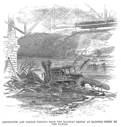 July 20, 1861 Harper's Weekly news illustration: camel back locomotive and tender wrecked by the rebels in Harpers Ferry