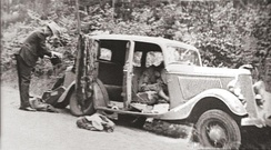 1934 Ford Deluxe V-8 after the ambush with the bodies of Barrow and Parker in the front seats