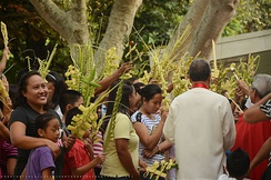 Palaspas, woven palm fronds during Palm Sunday celebrations in the Philippines