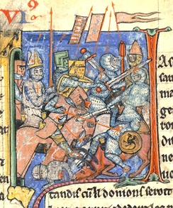 Adhemar de Monteil in chain mail carrying the Holy Lance in one of the battles of the First Crusade