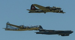 B-29 Superfortress, B-17 Flying Fortress and B-52 Stratofortress fly in formation at the 2017 Barksdale Air Force Base Airshow