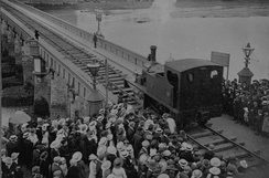 A locomotive crossing the Long Bridge.