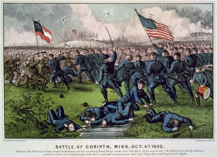 Fanciful rendition of the October 1862 Battle of Corinth, Mississippi by lithographers Currier and Ives. Woodford County members of the 47th Illinois Volunteers were part of the fighting, which resulted in combined losses of 828 killed and more than 3,800 wounded and missing.[27]