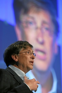 Gates delivers a speech at the World Economic Forum in Switzerland, January 2008.