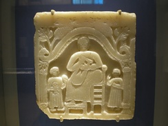 A funerary stela featuring a musical scene, first century CE