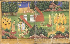 Scenes from the life of the Buddha in an 18th-century Burmese watercolour