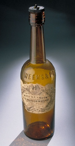 Bourbon bottle, 19th century: One-third of all bourbon whiskey comes from Louisville.