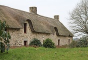 Cahire Breton cottages at Plougoumelen, Brittany, France