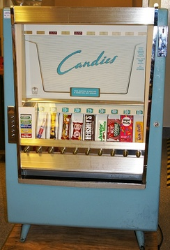 A snack food vending machine made in 1952