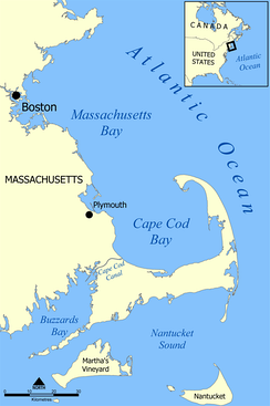 A map showing the location of Cape Cod Bay.