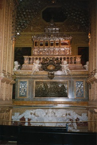 Casket of Saint Francis Xavier in the Basilica of Bom Jesus in Goa, India