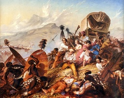 Depiction of a Zulu attack on a Boer camp in February 1838