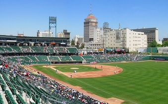 Downtown Fresno, third most populated city in northern California and fifth in California, from Chukchansi Park