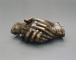 Clasped Hands of Robert and Elizabeth Barrett Browning, 1853 by Harriet Hosmer.