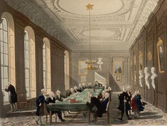 A college meeting in the early 19th century