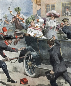 Assassination of Archduke Franz Ferdinand of Austria and Sophie, Duchess of Hohenberg in Sarajevo, illustrated in the Italian newspaper Domenica del Corriere, 12 July 1914 by Achille Beltrame